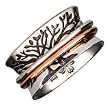 Energy Stone Double Tree Meditation Spinner Ring with 1 Brass 1 Copper Spinners