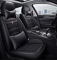 カーシートカバークッションフルセット、レザー通気性亜麻製リネンカーシートカバー5席のための普遍的な車両SUVセレンピックアップ,A