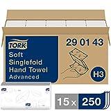 Tork Essuie-mains pliés en V Advanced - 290143 - Papier d'essuyage pour Distributeur H3 - Absorbant et indéchirable, 2 plis, blanc - 15 x 250 feuilles