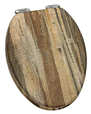 Home+Solutions Toilet Seat, Elongated, Distressed Wood