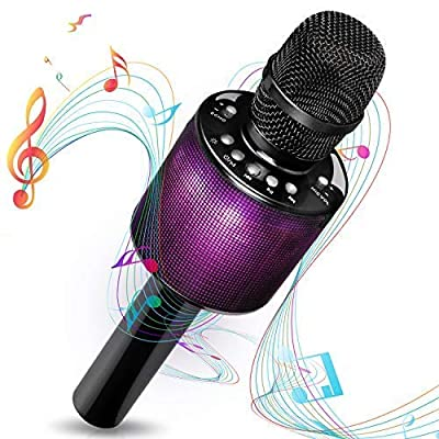 Bluetooth Karaoke Microphone - i-Star Wireless Karaoke Mic - Pairable For Duets - 5W Speaker Compatible With Android and iOS (Black)