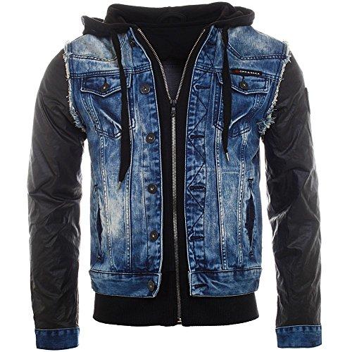 Cipo & Baxx 2in1 jeans jacket veston 1290 bleu noir double layer vintage used destroyed look homme, grösse:l;Farbe:Bleu