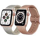 Lshy Cinturino per Apple Watch Cinturino 38mm 40mm 42mm 44mm, 2 Pezzi Morbido Cinturini per Apple Watch SE iwatch Series 6 5 4 3 2 1 (2 Brillanti)