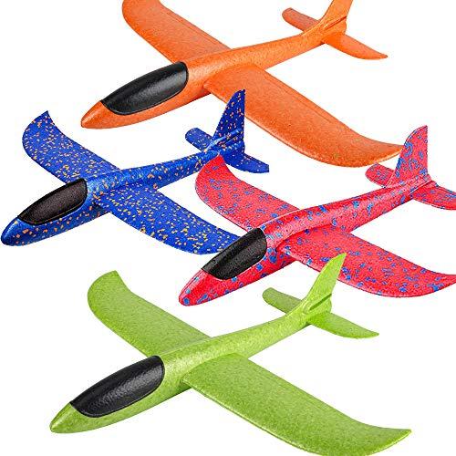 Zwish 4 Pack 17.5' Airplane Toys, Boy Toys, 2 Flight Mode Foam Glider Plane for Kids, Family Yard...