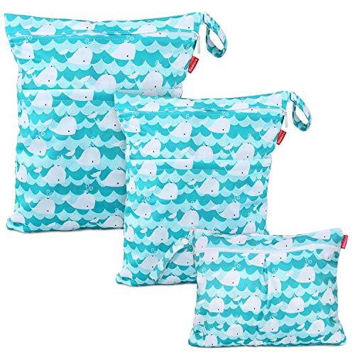Damero 3 pezzi Wetbag Pannolini Riutilizzabile, Borsa per Pannolini Lavabili, Bag Pannolino per Pannolini per Bambini, Vestiti Sporchi e Altro