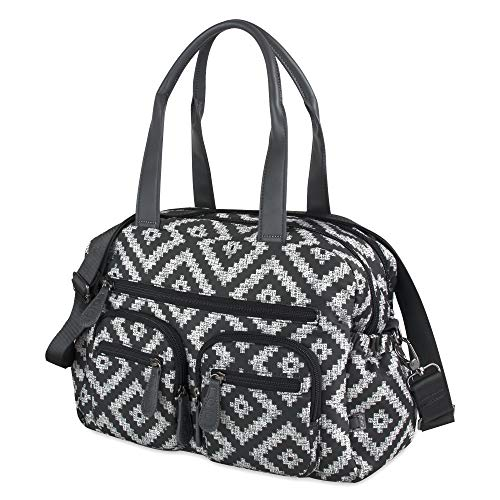 OiOi Multi Zip Pocket Baby Diaper Bag Carryall - Black Aztec