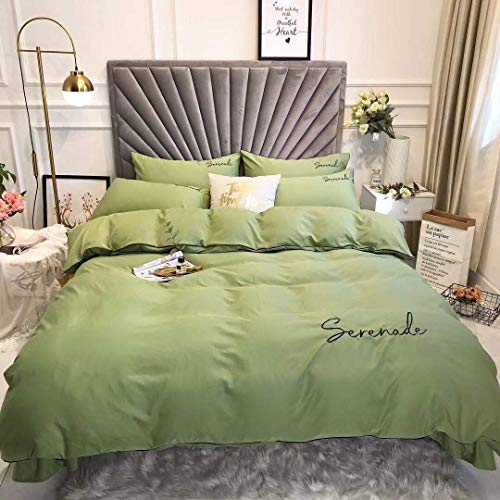 OUHGNS Duvet Cover, Bedding, 200x230 Quilt Cover, 4-Piece Silk Embroidery Set, Green Linen Quilt Cover Pillowcase