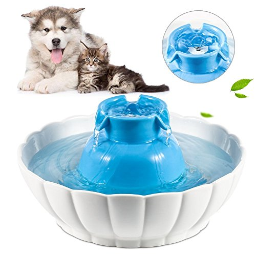YOUTHINK Cat Water Fountain, 2L Large Capacity Healthy and Hygienic Automatic Ultra Quiet Pet Water Fountain, Cat Water Dispenser with 1 Filter, Pet Drinking Fountain for Cat and Dog (Blue)