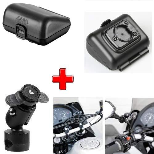 Compatible con Beta Motor RR 400 Enduro 4T Porta TELEFONO Estuche Lluvia + FIJACION Varilla para Espejos, Marcos Y BALANCAS con Pinza Ø 9-14 MM LAMPA