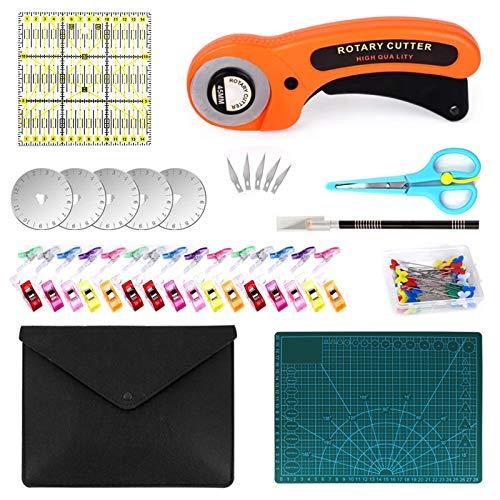 Honeyhouse Juego de cortadores rotativos, 96 piezas, incluye 5 cuchillas, estera de corte, tijeras, clips de tela, regla de retazos multifuncional kit de corte para coser