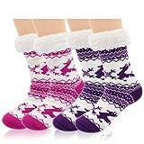 Ordenado 2 Pairs Women's Winter Fleece Lined Thermal Fuzzy Christmas Slipper Socks with Grippers