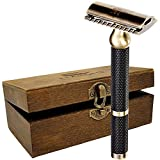Safety Razor – Premium Double Edge Safety Razors for Men's Shaving, Three Piece Single Blade Razor for Men & Women, Solid Brass Handle DE Razor, Suits Double Edge Razor Blades, Gifts for Mens Shave