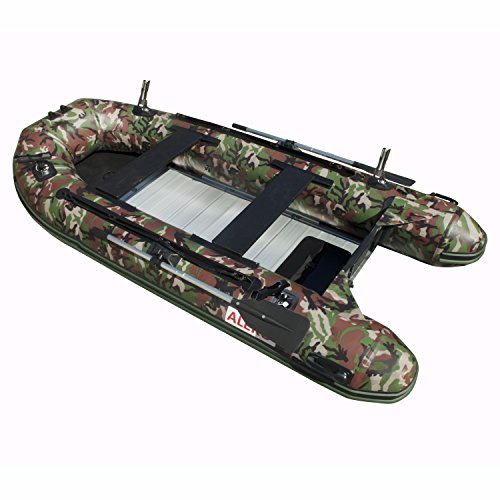 ALEKO BTF380CM PRO 12.5 Foot Inflatable Fishing Boat with Aluminum Floor Heavy Duty Design 6 Person...