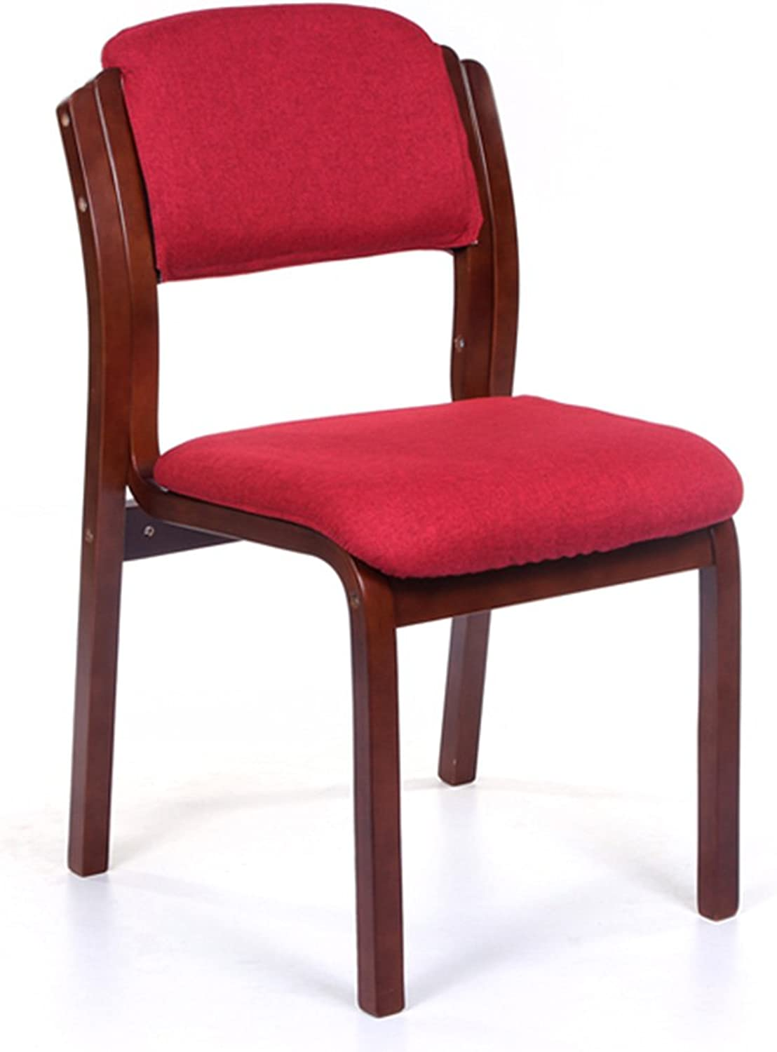Wooden Chair,Home Cloth Cafe Restaurant Hotel Desk Backrest Chair (Brown Frame red Linen seat Cover)