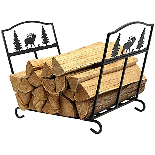 Firewood Log Rack Holder Stand for Fireplace Foldable Storage Carrier Tools of Wood for Outdoor...