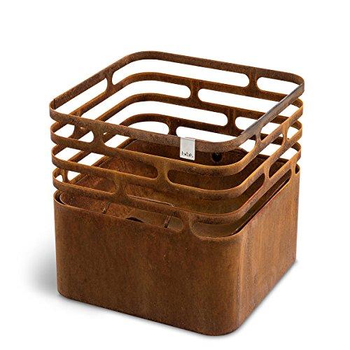 höfats - CUBE Feuerkorb - als Feuerstelle, Grill, Hocker und Tisch - für Garten und Terrasse - Corten-Stahl - Rost-Optik