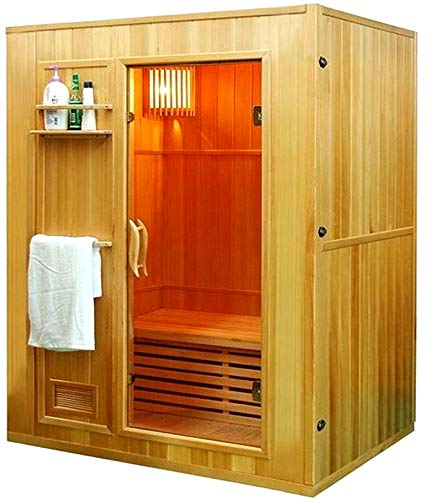 "Canadian Hemlock Wood Traditional Swedish 60"" 2 or 3 Person Indoor Sauna Spa, with 6KW Wet or Dry Heater, Digital Control Panel, Rocks, and Water Bucket"