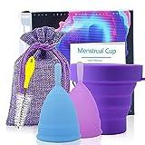 Copa Menstrual Íntima de Silicona Suave Flexible Duradera y Reutilizable de Grado Medicinal - Kit de Higiene Personal Femenino - Incluye 2 Copas Talla S y L con Esterilizador y Cepillo Limpiador