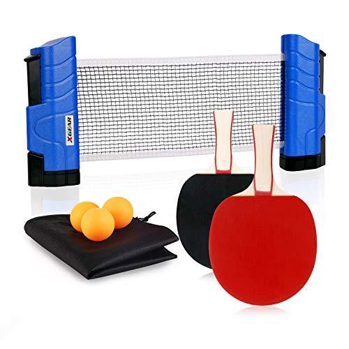 XGEAR Juego de Ping Pong con 2 Raquetas + 3 Bolas Pelotas Tenis de Mesa + 1 Red Retráctil + 1 Bolsa Conjunto de Pingpong Set Portátil para Interior al Aire Libre Regalo (Azul Nacarado)