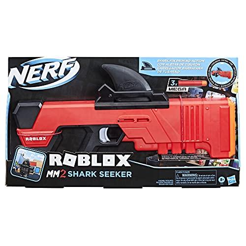 Nerf Roblox MM2: Shark Seeker Dart-Blaster, akcja płetwy rekina, 3 lotki Nerf Mega Darts, kod do aktywacji wirtualnego instrumentu In-Game