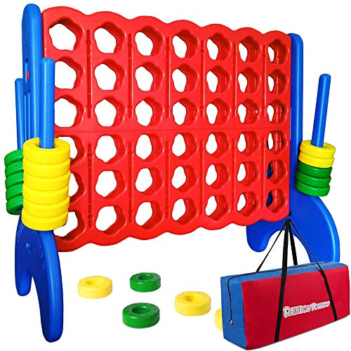 4 to Score Giant Connect Game - Jumbo Outdoor Games 4-in-A-Row Backyard Games for Kids and Adults - 47 x 43 x 22 Inches Jumbo Yard Games - Easy to Set Up Oversize Four Score Toy and Carry Bag