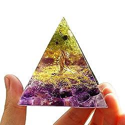 オルゴナイト ピラミッド型 パワーストーン 浄化 クリスタル 置物 ピラミッド 置物 天然石 水晶 開運 出世 成功 金運 orgonite pyramid 生命の樹 アメジスト&かんらん石