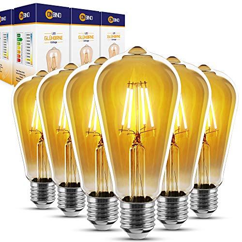 ONBIND – Premium Vintage LED E27 Edison Glühbirnen [6er Set] – [4W / 220-240V] – Warmweiß [2700 K] Retro LED Filament Lampen – Lebensdauer [15.000 Stunden] – Energieklasse A+