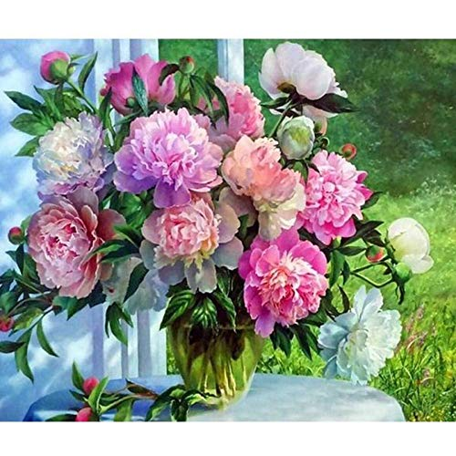 Qazqian DIY 5D Diamantmalerei Adult Digital Oil Painting Blumenstickerei Malerei in Blumentopf Home Wanddekoration Handwerk-60X60-Quadrat-Diamant