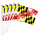 LoveVC Maryland State Flag Small Mini Maryland Stick Flags,25 Pack