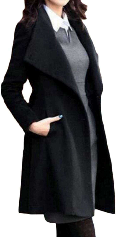 WAWAYA Womens Single Breasted Long Sleeve Slim Fit Lapel Belted Trench Jacket Pea Coat Overcoat
