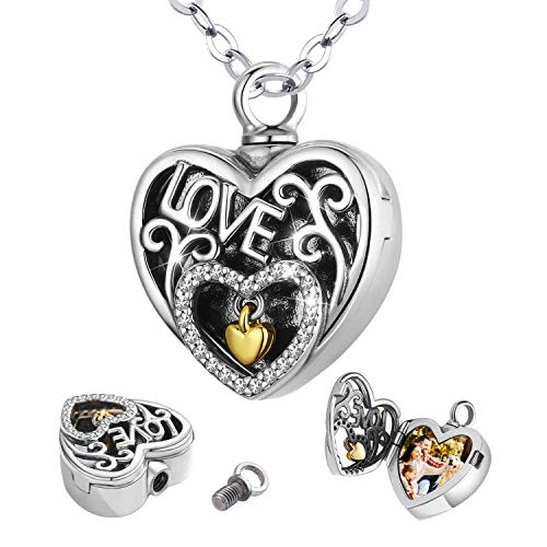 CELESTIA Cremation Ashes Necklace 925 Sterling Silver Heart Photo Pendant Pets Memorial Jewellery, Loss of Mom Dad Wife Husband Bereavement Gift