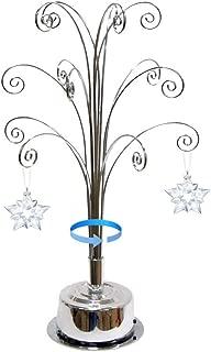 HOHIYA for Swarovski Christmas Ornament 2019 Annual Snowflake Crystal Angel Ball Star Ornaments Rotating Tree Display Metal Stand Gift 16.75 inch(Chrome)