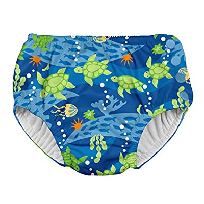 i Play. Baby Boys Snap Reusable Absorbent Swimsuit Diaper, Royal Blue Turtle Journey, 18mo