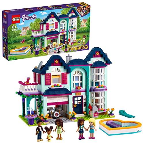 LEGO 41449 Friends Andreas Haus Set, Puppenhaus für Mini Puppen mit Schwimmbad und Musikstudio, Spielzeug ab 6 Jahren