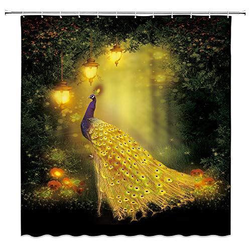 Feierman Golden Peacock Shower Curtain Classical Noble Bathroom Curtain Decor Waterproof Machine Washable with Hooks 70x70Inches