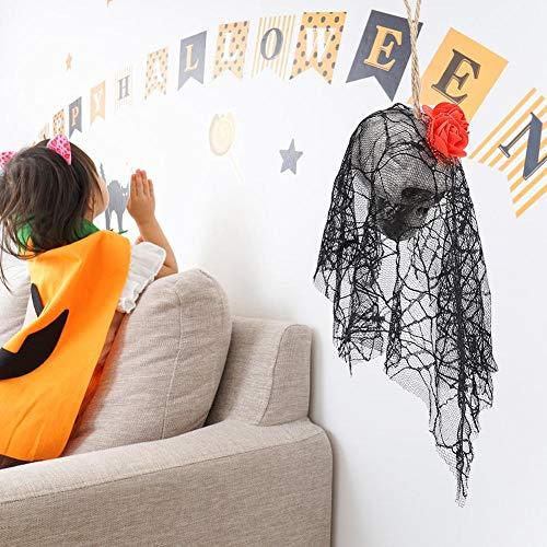 Acessórios de decoração suspensa para festa Suporte de crânio de terror, crânio de Halloween, 36 cm / 14,2 pol. Para barras de jardim de portas e jardins(red)