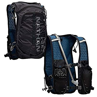 Nathan TrailMix Running Vest/Hydration Pack. 7L (7 Liters) for Men and Women | 2L Bladder Included (2 liters). Zipper, Phone Holder, Water (Black/Blue, One Size Fits Most)