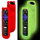 2 Pack Protective Silicone Remote Control Case for TCL Roku TV Cover, for Roku tv Remote Cover, Anti-Slip Shockproof Cover for Roku Replacement Remote Cover Glow in The Dark