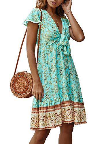 Kidsform Damen Kleider Tshirt V-Ausschnitt mit Bowknot Sommerkleid Tunika Halbarm Boho Minikleid Floral Plus Size Böhmisch Kleid Shirt Lose Freizeit T-b Grün L