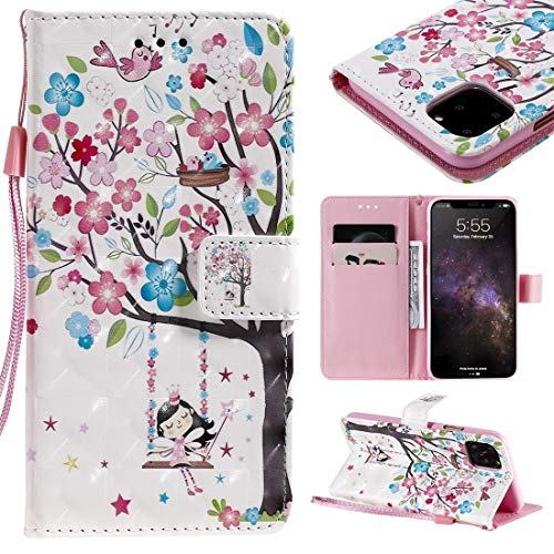 MOLIBAIHUO For IPhone 11 Pro Max Case, 3D Painted Pattern Horizontal Flip Leather Case for IPhone 11 Pro Max, With Wallet & Holder & Card Slots & Lanyard PHONE CASE (Pattern : Girl under the tree)