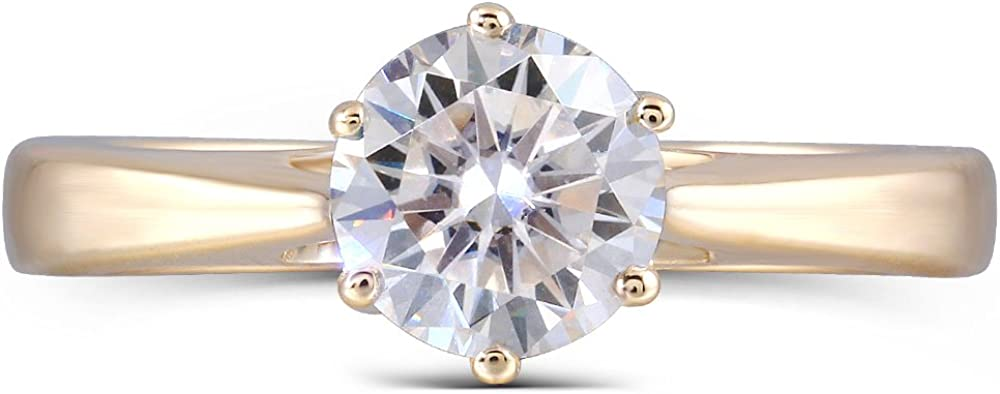 DovEggs Solid 10K Yellow Gold 1.0 Carat G-H-I Color 2.4MM Width Moissanite Simulated Diamond Engagement Ring for Women