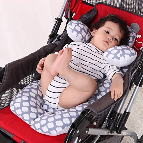 Infant Car Seat Insert, G-Tree Cotton Baby Stroller Liner Head and Body Support Pillow, Infant Seat Pad Carseat Neck Support Cushion for Toddler (Cloud)