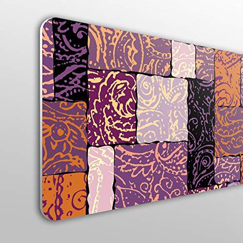 MEGADECOR Cabecero Cama PVC 10mm Decorativo Económico. Patrón De Paisley De Grunge En Mosaico De Collage Estilo Indio Etnico. (150cm x 60cm)