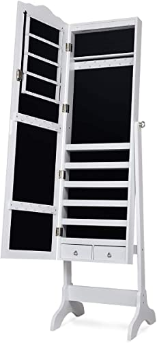 popular Giantex Lockable Standing Jewelry 2021 Armoire with 14 Auto-on LED & Full Length Mirror, 14 LEDs Jewelry Mirrored Cabinet and Storage online Organizer with 2 Drawers, 4 Angles Adjustable (White) online sale
