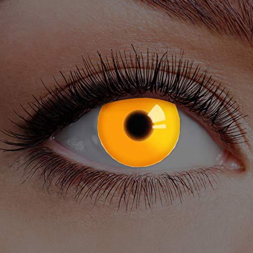 Farbige Kontaktlinsen Orange Ohne Stärke mit Motiv Linsen Halloween Karneval Fasching Cosplay Kostüm Eyes Augen UV Fire Crazy Horror Clown Verrückter