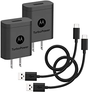 [2-Pack] Motorola TurboPower 18 QC3.0 Chargers with long 6.6 foot USB-A to USB-C cables for Moto Z, Z2, Z3, X4, Motorola O...