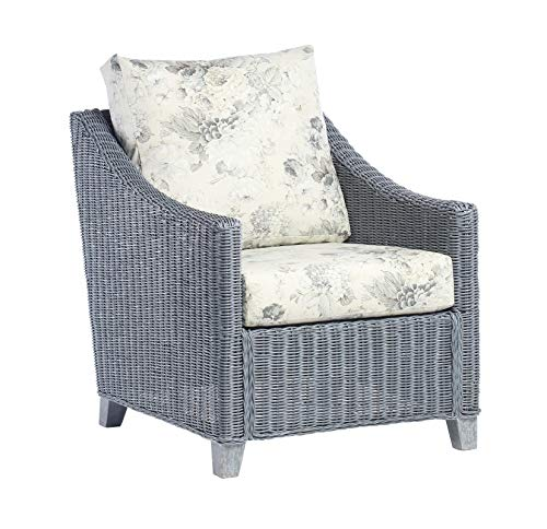 Desser Dijon Grey Armchair Conservatory Furniture – Wicker Weave Natural Cane Rattan with UK Manufactured Cushions in Dove Fabric – Chair Dimensions: H89cm x W71cm x D88cm