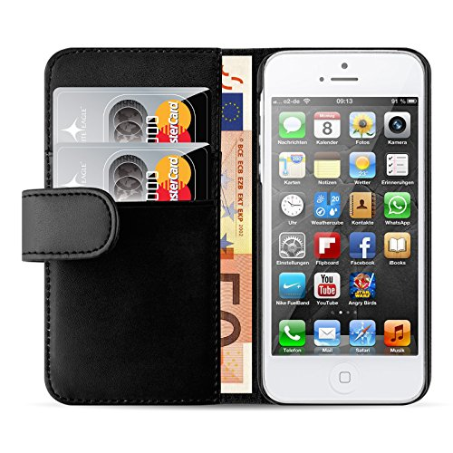 JAMMYLIZARD Funda De Piel [Classic Wallet] Para iPhone SE y iPhone 5/5s Case Cover con Tapa Tipo Cartera Tarjetero, Negro