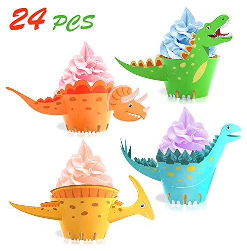 Unique Store 24 Stücke Dinosaurier Cupcake Wrapper, doppelseitig, Dinosaurier Kuchen Dekoration für Kinder Party Dinosaurier Geburtstag Deko Jungen Mädchen.