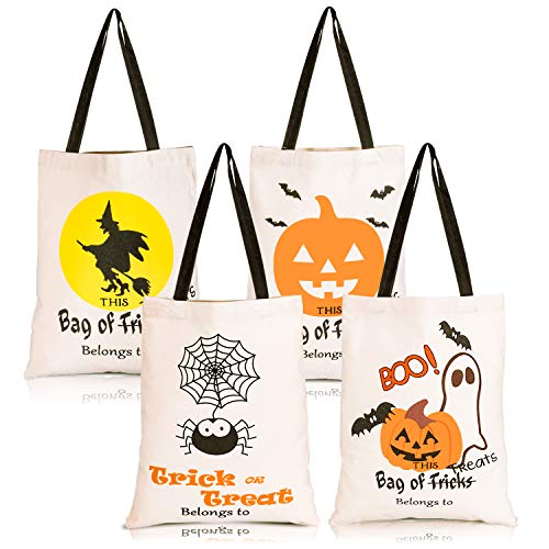 Whaline 4 Pack Halloween Tote Bags Reusable Trick or Treat Candy Sack Bags Large Canvas DIY Craft Bag for Party Shopping Market 14 x 17 Inch